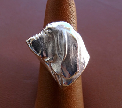 Sterling Silver Bloodhound Large Head Study Ring