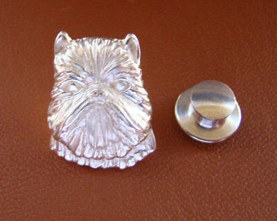 Sterling Silver Brussels Griffon Head Study Lapel Pin