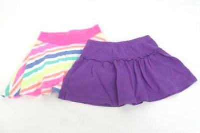 Lot of 2 Youth Girls Skirts Purple Pink Neon Stripes Ruffles Size 4T