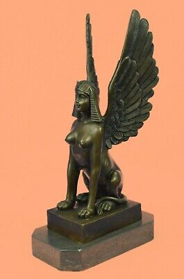 "Medium 100% Bronze Ancient Egyptian Sphinx Figurine Statue Collectible 11"" High"