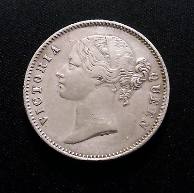 East India Company 1840 One Rupee Silver Coin  WW Raised