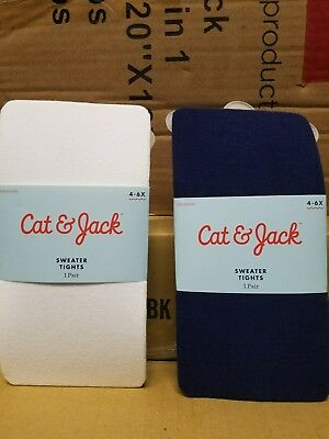 Cat & Jack.Girl's.Footed Sweater Tights. 4-6x. Nightfall blue & White. New. 2pk