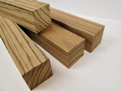 """Zebrawood Turning Blank Spindles Scales Grips Calls 1  1/2 sq. x 12"""" (4) Qty"""