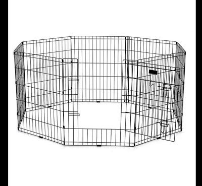 Pet Cage Exercise Pen Dual Latch Door Pre-assembled Security Latches Collapse