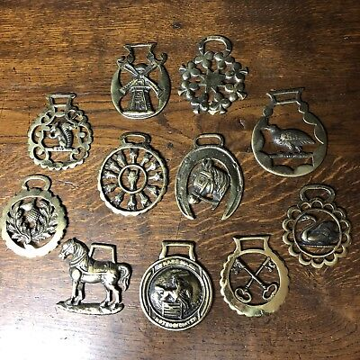 """Lot of 11 Brass Horse Saddle Harness Medallions 3.5"""""""