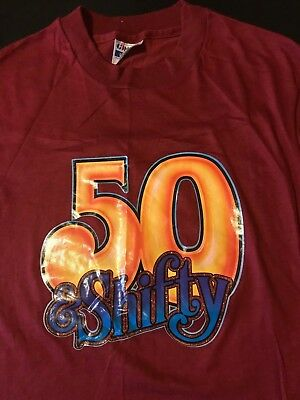 Vintage 80s Fifty 50 And Shifty Iron On Maroon T-Shirt Funny Old Senior Dad Mom