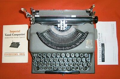 Vintage 1950s IMPERIAL Portable Typewriter + Case +Manual +Ribbon Good Companion