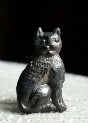 Vintage Cracker Jack metal CAT KITTEN COLLAR STUD PRIZE JEWELRY, 1920s 1930s