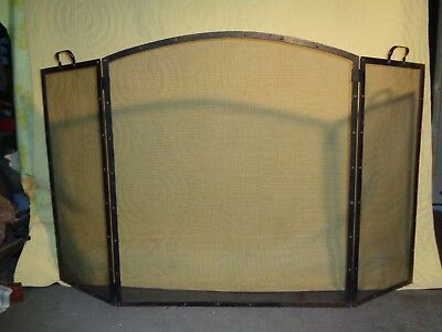 Antique Fireplace Arch Hump Screen,mission Style,heavy, Handles  3 Panel