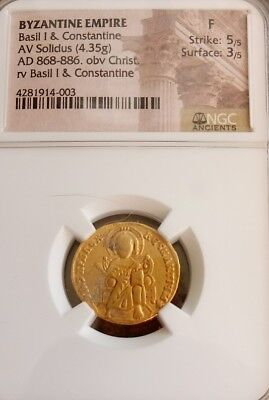 Byzantine Empire Basil I and Constantine NGC Fine 5/3 ancient gold coin