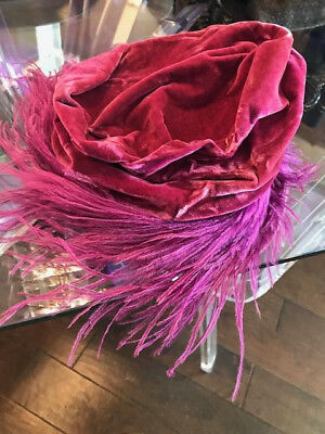 Vintage Velvet Hat with Ostrich Feathers, hot pink, Halle Bros, Cleveland, Ohio