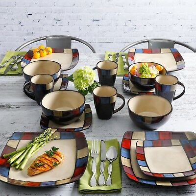 Sophisticated Gibson Home Soho Lounge Square 16 Piece Dinnerware Set ...