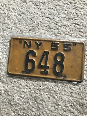 1955 New York State Motorcycle License Plate number 648 - excellent condition