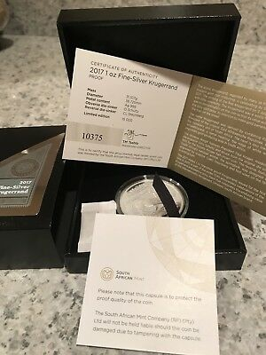 2017 South Africa 50th Anniversary 1oz Silver Krugerrand Proof Flawless W/COA