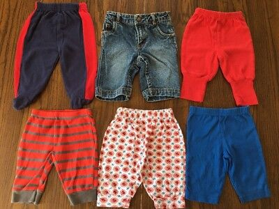Lot Of 6 Baby Boy Mixed Pants Size Newborn 0-3 Months Jean's/Comfy/Lounge