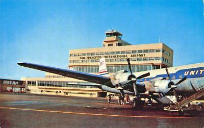 San Francisco CA International Airport United Airlines Prop Airplane Postcard