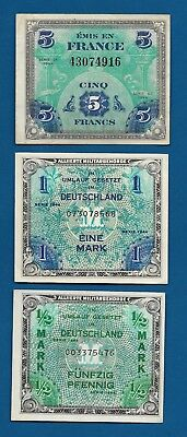 France 5 Francs 1944, Germany 1 Mark P-192 & 1/2 Mk WW2 Allied Military Currency
