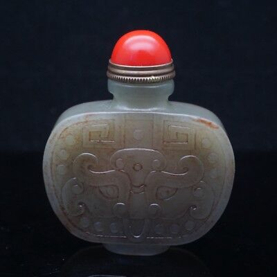 Chinese Exquisite Hand-carved beast carving Hetian jade snuff bottle