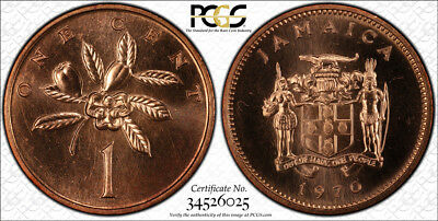 1970 Jamaica Cent PCGS SP66 Red - Extremely Rare Kings Norton Mint Proof