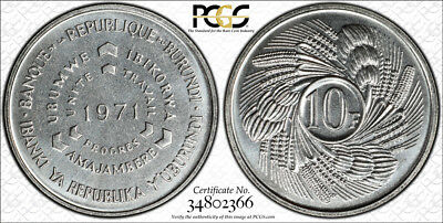 1971 Burundi 10 Francs PCGS SP67 - Extremely Rare Kings Norton Mint Proof