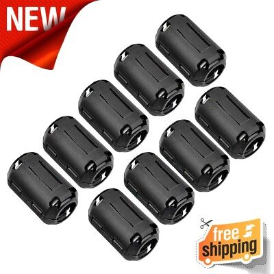 10-Pack 5mm Ring Core Ferrite Bead Choke Coil Clamp RFI Cable Clip Noise Filter