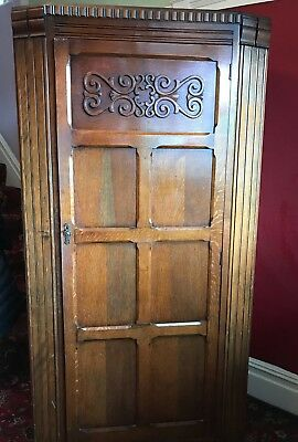 Carved vintage oak hall robe small wardrobe 1930s