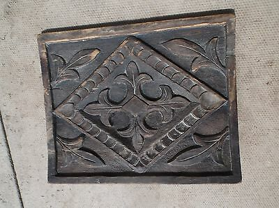 Tudor? small wood panel decorated carved leaves diamonds