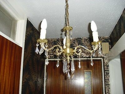 exact matching pair early french 3 arm chandeliers with glass droplets.(now £95