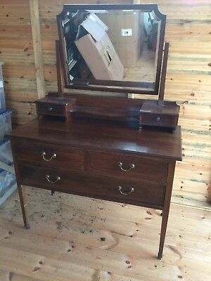 Inlaid Antique Mahogany Edwardian Kneehole Dressing Table Display Chest Desk