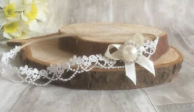 Baby Girl Ivory Christening Headband Baptism Wedding Lace Pearl Hairband Bow
