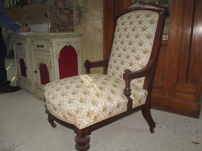 Victorian chair - solid mahogany with carving  - upholstered seat and back