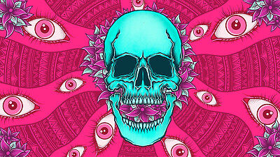 LOVE 60's-70's Psychedelic Skull & Flowers Trippy Sticker or Magnet