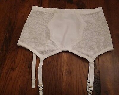 Nwot Vtg Crown-Ette Plus Sz 42 Garter White Lace Solid Panel Made In Usa.