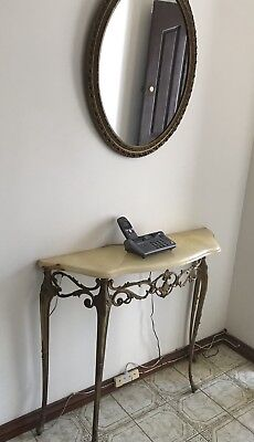 Vintage Marble Top & Brass Hall Table Gold Gilted Oval Mirror Set