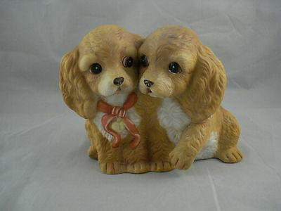 Vintage HOMCO Masterpiece Porcelain Cocker Spaniel Dogs Puppies Figurine Signed