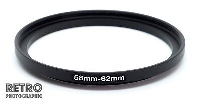 58mm to 62mm 58-62mm Step-Up Stepping Ring Filter Adapter - UK Stock