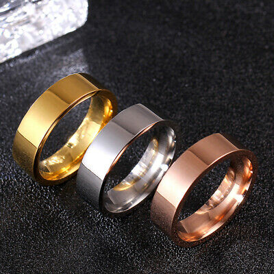 6mm Gold/Silver/Rose Gold/Black Bands Party Stainless Steel Men's Ring Size 5-13