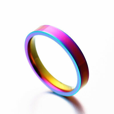 4mm/6mm Rainbow Bands Men Women's 316L Stainless Steel Engagement Ring Size 5-13