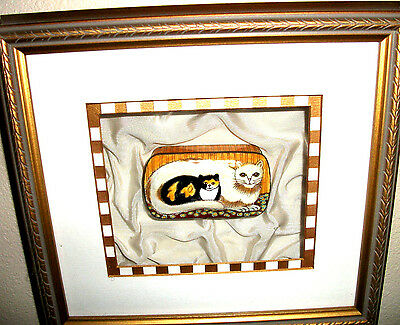 """""""CAT & KITTEN"""" COLLECTABLE TRINKET BOX (Retail> $150) Unique Shadow Box Framing"""