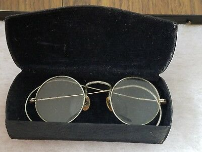 Antique Round Wire Rim Glasses in case                                         e