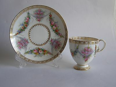 Antique Spode Bone China Cup and Saucer Hand Painted in Sevres Style