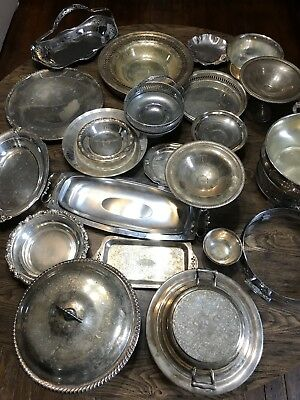 HUGE LOT 25 Mixed SILVER-PLATED Platters Dish serving dishes Bowls Trays
