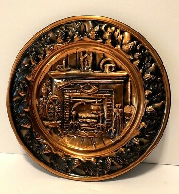 """Vintage Coppercraft Guild """"Colonial Fireplace"""" Copper Wall Hanging Plate 10.5"""""""