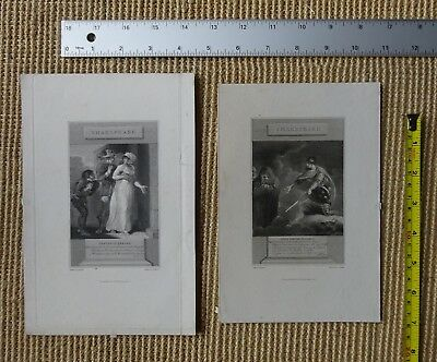 2 ANTIQUE PRINTS, Shakespeare, Late 18th/early 19th Century Etching Illustration