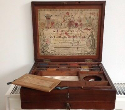 Antique 1700s Georgian W J Reeves  Artists Mahogany Paint Box Watercolours