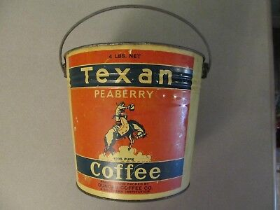 Relist Vintage 4LBTexan PeaBerry Coffee Tin Roasted Packed ByDuncan Coffee Co.