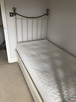 Marks And Spencer Cream & Antique Brass Single Size Bedstead with Single Divan.