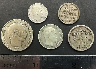 West Indies DANSK Coins, lot of 5 coins, Caribbean & Puerto Rico