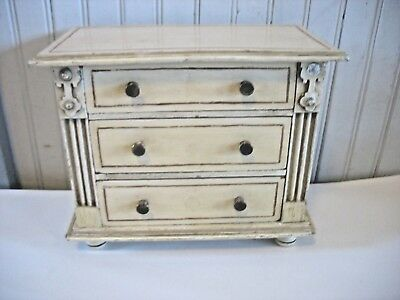 Vtg c1900 Doll sized Handmade Wood Chest of 3 Drawers Jewelry box distressed