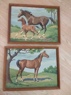 Vintage Horses Paint by Number Completed and Framed